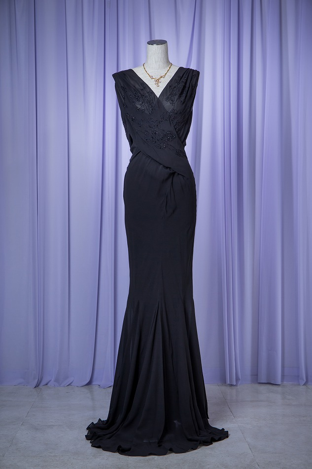 Christian Dior クリスチャン ディオール ブラックビーズロングドレス , 結婚式・パーティドレス レンタル